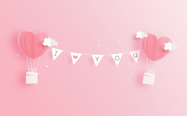 Cartão de dia dos namorados com balões de coração em papel cortado estilo. ilustração vetorial Vetor Premium