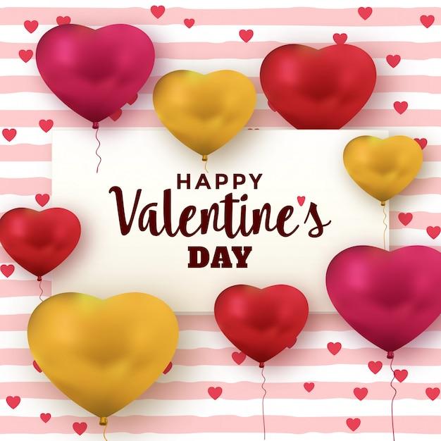 Cartão de dia dos namorados com balões de coração Vetor Premium