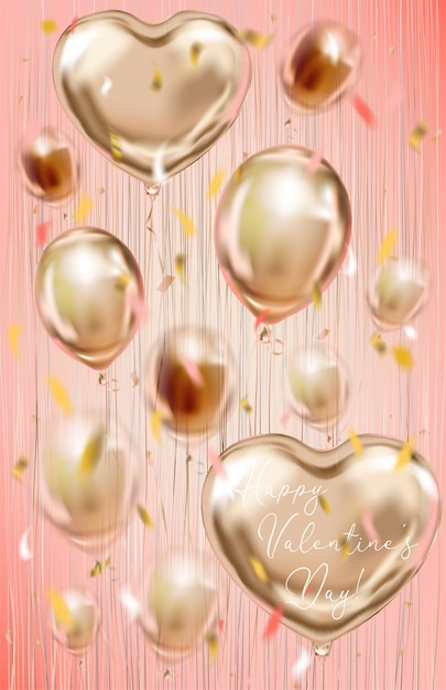Cartão de dia dos namorados com balões de folha no fundo coral Vetor Premium