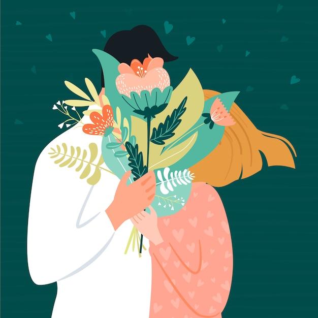 Cartão de dia dos namorados com casal feliz. homem que dá a sua mulher um buquê de flores. ilustração vetorial Vetor Premium