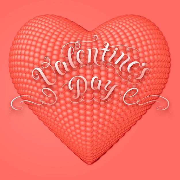 Cartão de dia dos namorados com coração 3d Vetor grátis