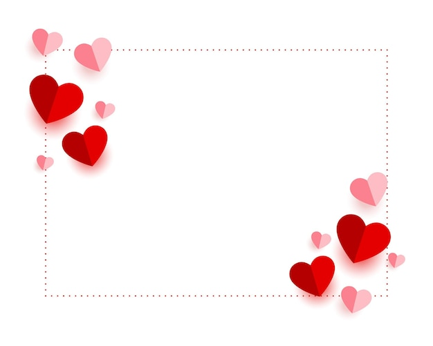 Cartão de dia dos namorados com corações de papel Vetor grátis