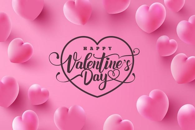 Cartão de dia dos namorados com corações doces em rosa Vetor Premium