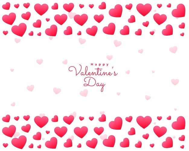 Cartão de dia dos namorados com corações em fundo branco Vetor grátis