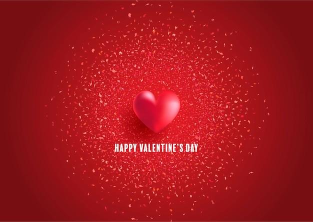 Cartão de dia dos namorados com design de coração e confetes Vetor grátis