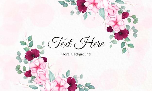 Cartão de dia dos namorados com lindos florais Vetor grátis