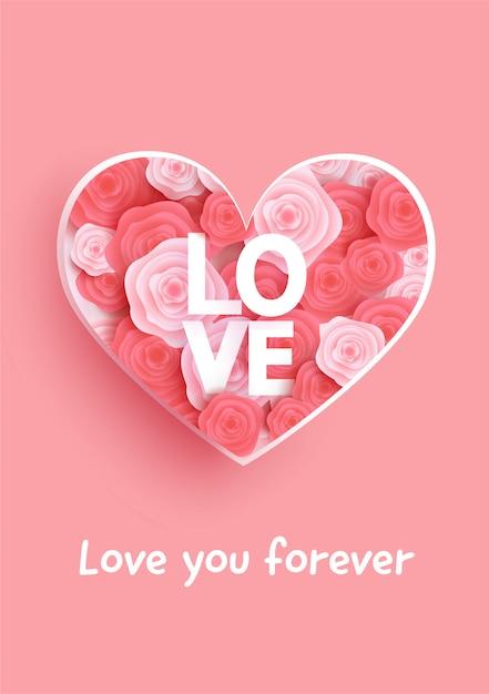 Cartão de dia dos namorados com rosas e coração. Vetor Premium