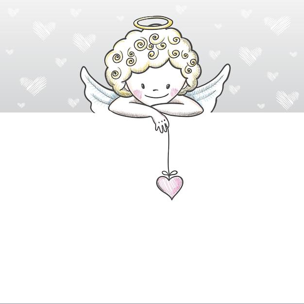 Cartão de dia dos namorados fofo com desenho de cupido Vetor Premium