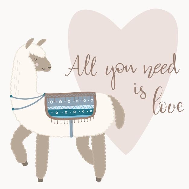 Cartão de dia dos namorados. lama bonito com elementos desenhados mão. tudo o que você precisa é amor. Vetor Premium