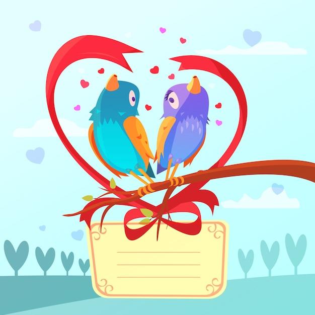 Cartão de dia dos namorados retrô dos desenhos animados com casal de pássaros Vetor grátis