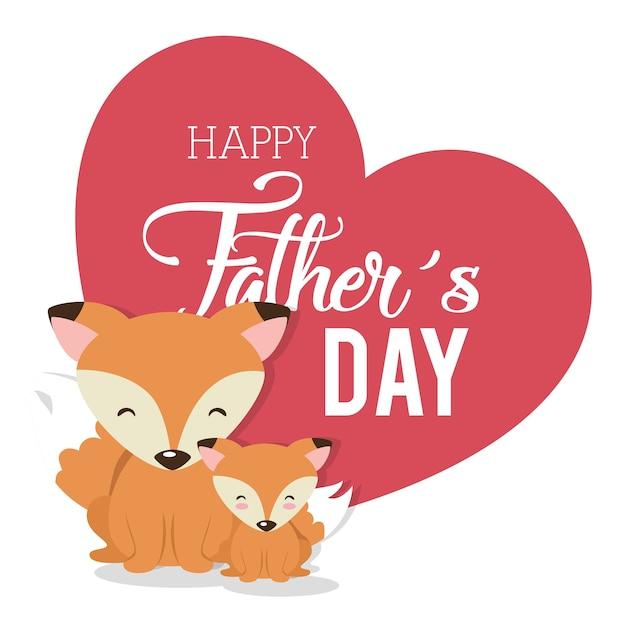 Cartão de dia dos pais feliz com raposas vector design ilustração Vetor Premium