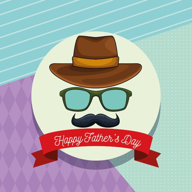 Cartão de dia dos pais feliz Vetor Premium