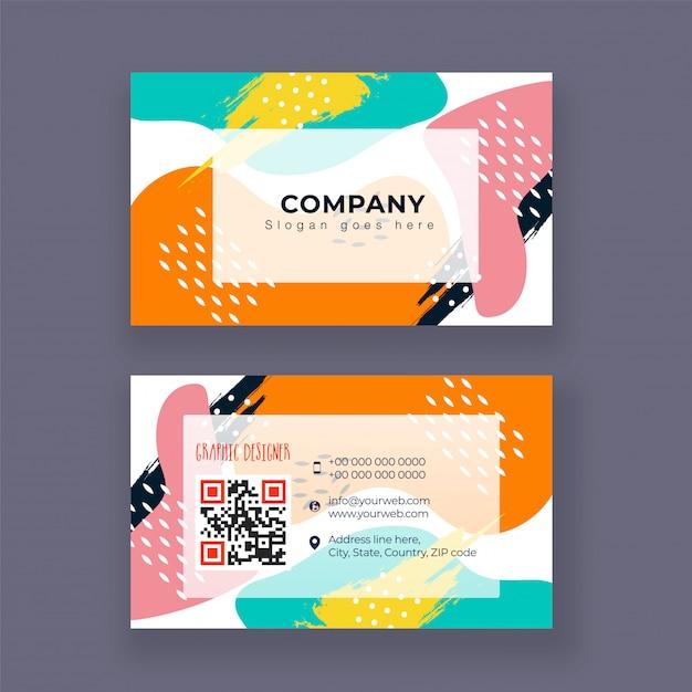 Cartão de empresa de designer gráfico ou design de cartão de visita Vetor Premium