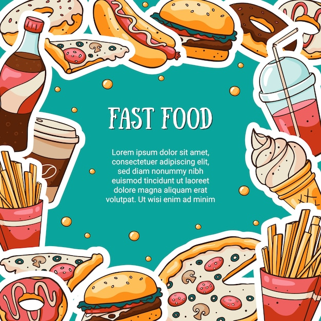 Cartão de fast food com espaço reservado para texto Vetor Premium