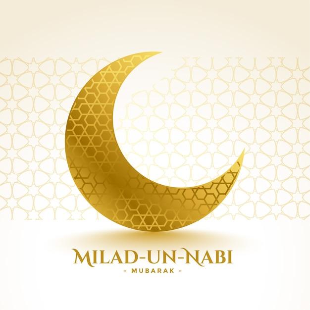Cartão de felicitações da lua dourada milad un nabi mubarak Vetor grátis