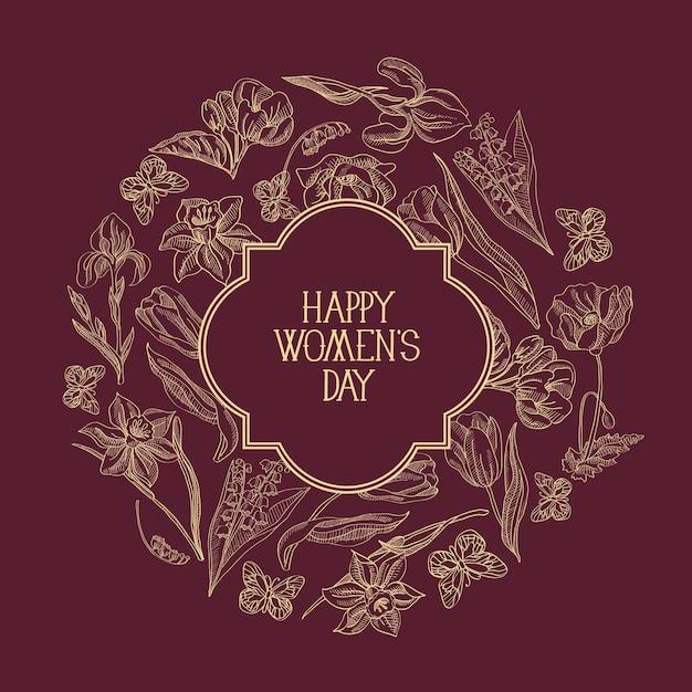 Cartão de felicitações de composição de esboço de moldura redonda vermelho-escuro com muitos objetos ao redor do texto sobre o dia da mulher decorado com flores Vetor grátis