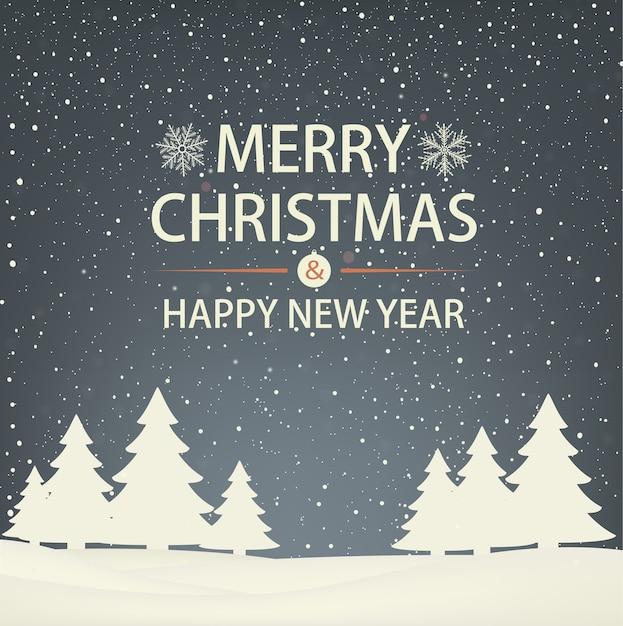 Cartão de felicitações de natal e ano novo com árvores de natal. paisagem de inverno à noite. Vetor Premium