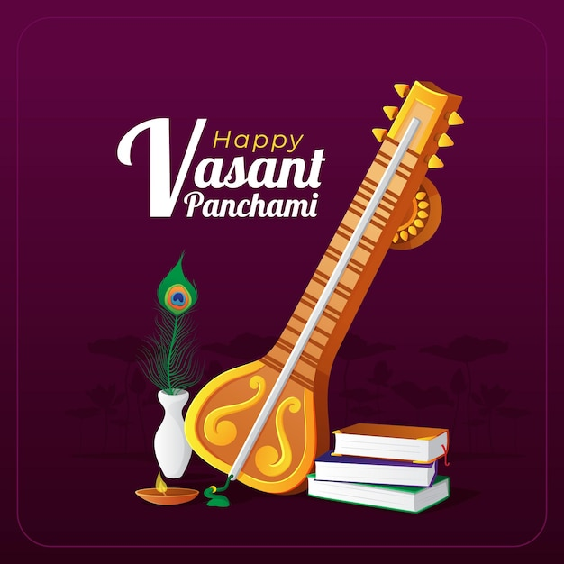 Cartão de felicitações de vasant panchami com instrumento musical tradicional Vetor Premium