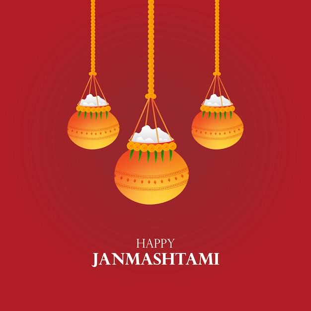 Cartão de felicitações de vetor dahi handi janmashtami Vetor Premium