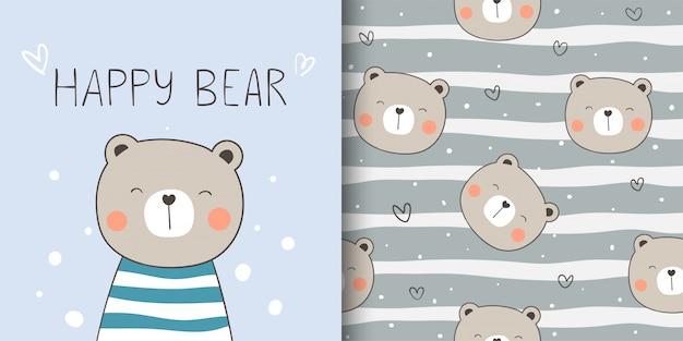 Cartão de felicitações e impressão sem costura padrão feliz urso para crianças de tecidos têxteis. Vetor Premium