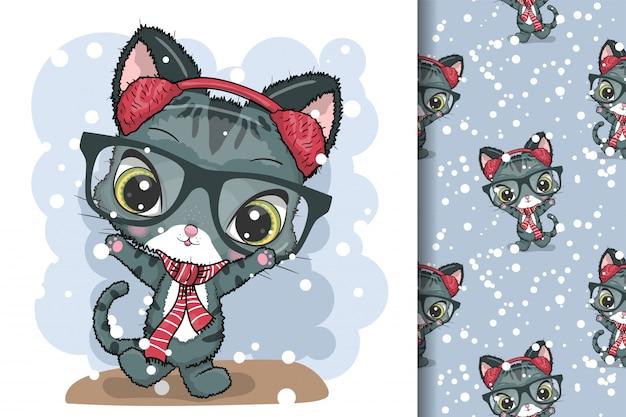 Cartão de felicitações gatos de natal Vetor Premium