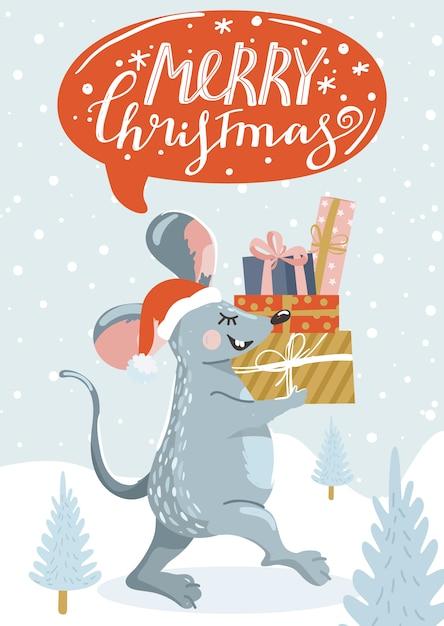 Cartão de felicitações para o ano novo com rato bonitinho, presentes e letras. Vetor Premium