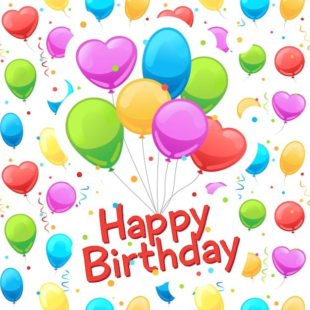 Cartão de feliz aniversário balões Vetor Premium
