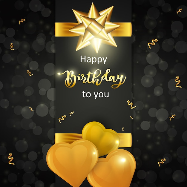 Cartão de feliz aniversário com balões em forma de coração de ouro realista e laço dourado em fundo escuro Vetor Premium