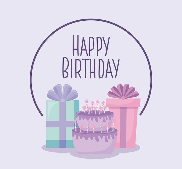 Cartão de feliz aniversário com bolo doce e caixas de presente Vetor Premium