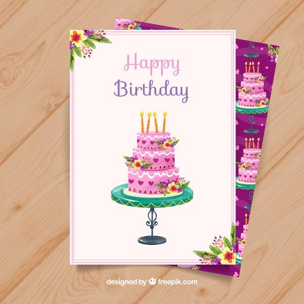 Cartão de feliz aniversario com bolo rosa em estilo aquarela ... bb64c3d162bd2