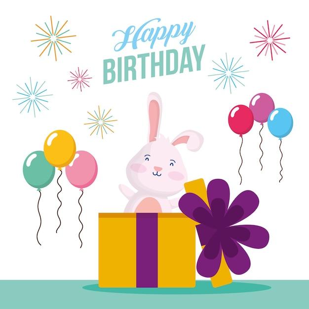 Cartão de feliz aniversário com coelho no presente e balões design de ilustração vetorial de cena de hélio Vetor Premium