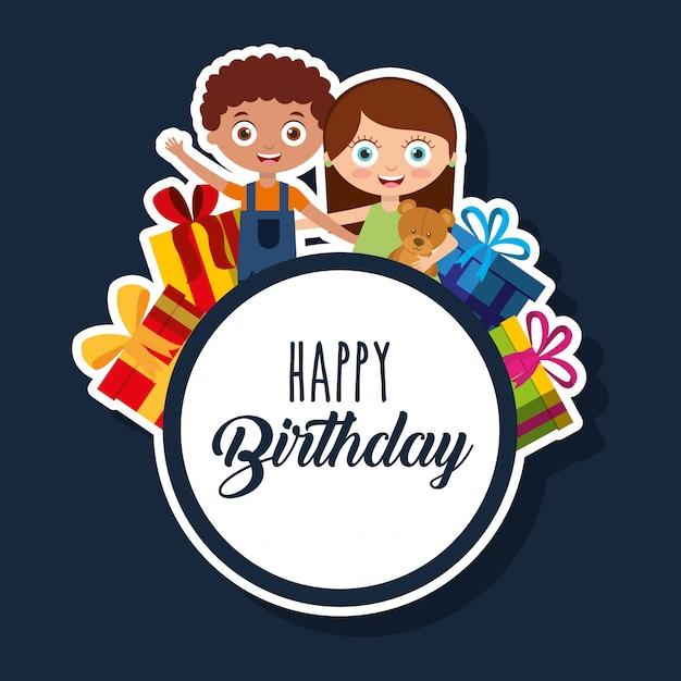 Cartão de feliz aniversário com crianças Vetor Premium