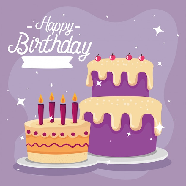 Cartão de feliz aniversário com decoração de bolo e festa Vetor Premium