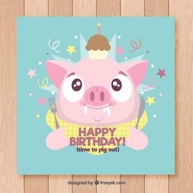 Cartão de feliz aniversario com linda porco em estilo plano Vetor grátis