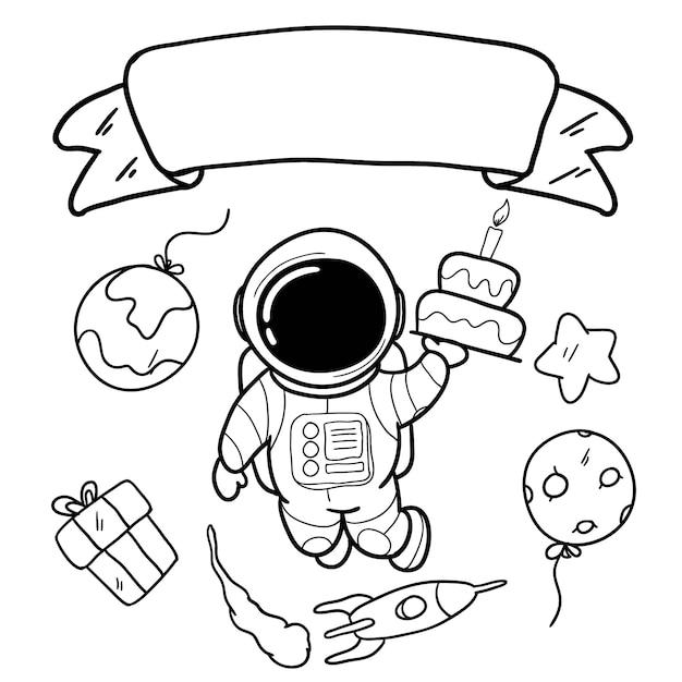 Cartão de feliz aniversário com mão desenhando astronauta e espaço Vetor Premium