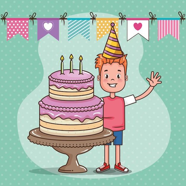 Cartão de feliz aniversário com menino Vetor grátis