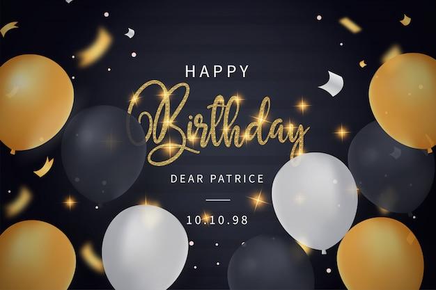 Cartão de feliz aniversário com modelo de balões realistas Vetor grátis