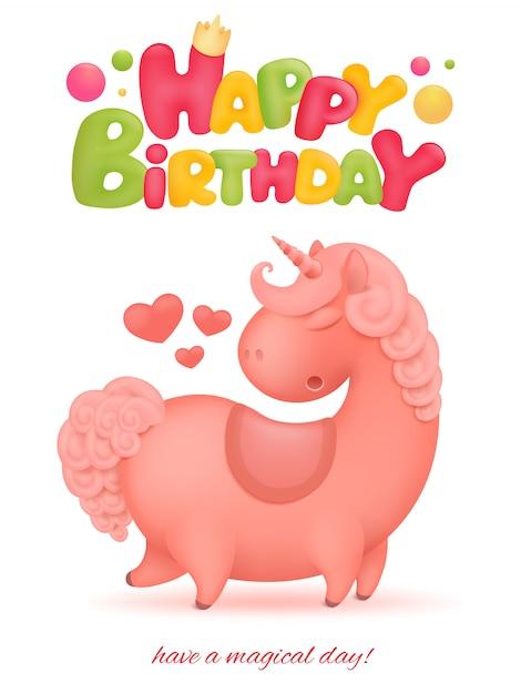 Cartão de feliz aniversário com personagem de desenho animado de unicórnio. Vetor Premium