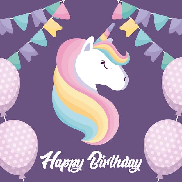 Cartão de feliz aniversário com unicórnio fofo Vetor Premium