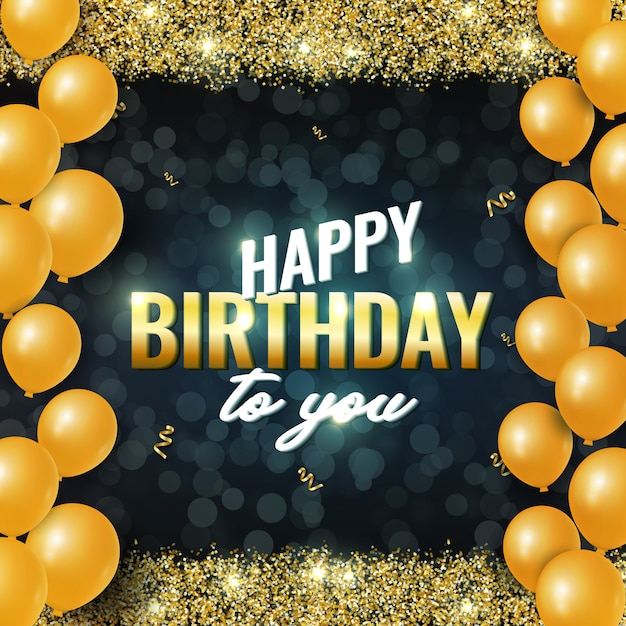 Cartão de feliz aniversário comemoração com brilhos dourados brilhantes, balões de ar e fitas douradas em fundo escuro Vetor Premium