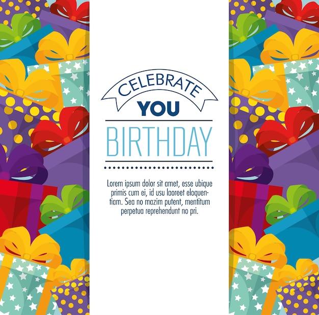 Cartão de feliz aniversário comemoração com presentes presentes Vetor Premium