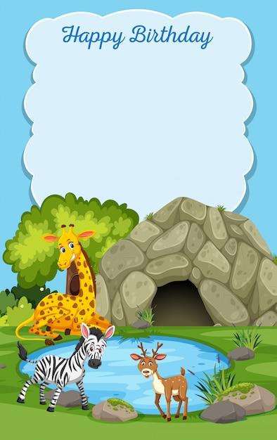 Cartão de feliz aniversário de animais selvagens Vetor Premium