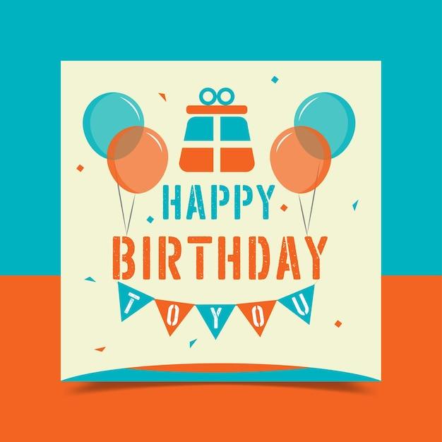 Cartão de feliz aniversário decorado com balões coloridos Vetor grátis