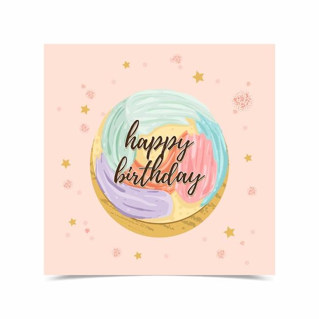 Cartão de feliz aniversário decorado com fotos de bolo Vetor grátis