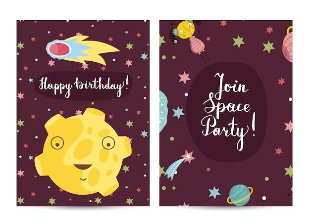 Cartão de feliz aniversário dos desenhos animados Vetor Premium