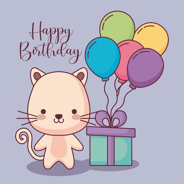 Cartão de feliz aniversário gato fofo com presente e balões de hélio Vetor Premium