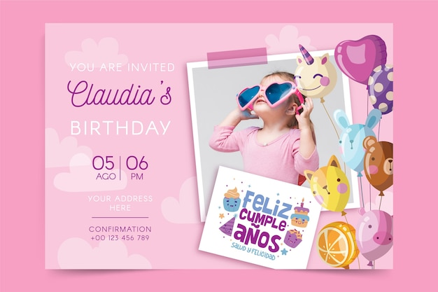 Cartão de feliz aniversário infantil Vetor grátis