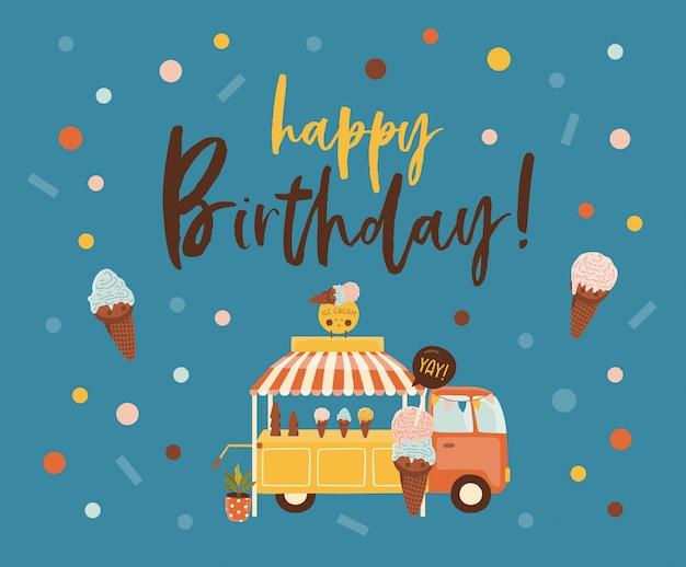 Cartão de feliz aniversário Vetor Premium