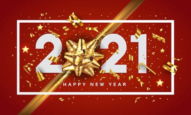 Cartão de feliz ano novo 2020. o projeto do feriado decorar com números e laço dourado sobre fundo vermelho. Vetor Premium