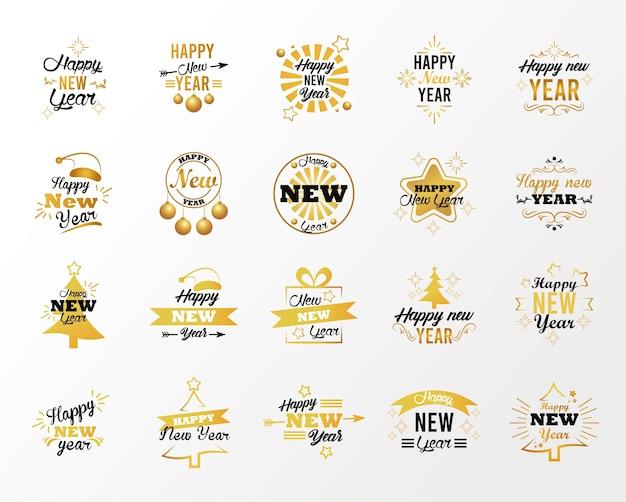 Cartão de feliz ano novo com ilustração de vinte letras Vetor Premium